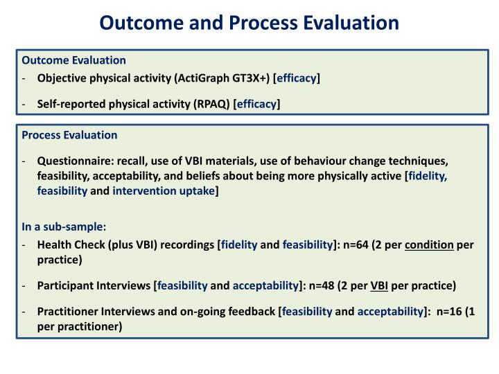 Outcome and Process Evaluation
