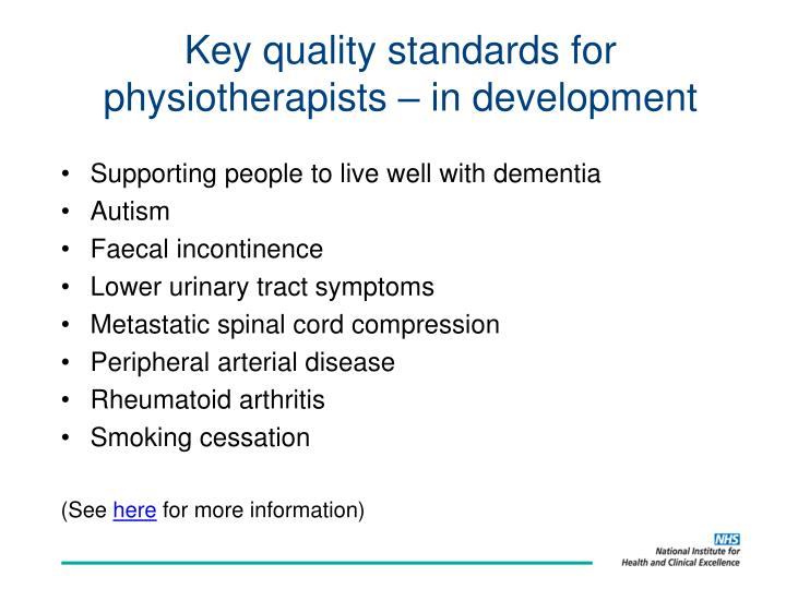 Key quality standards for physiotherapists – in development