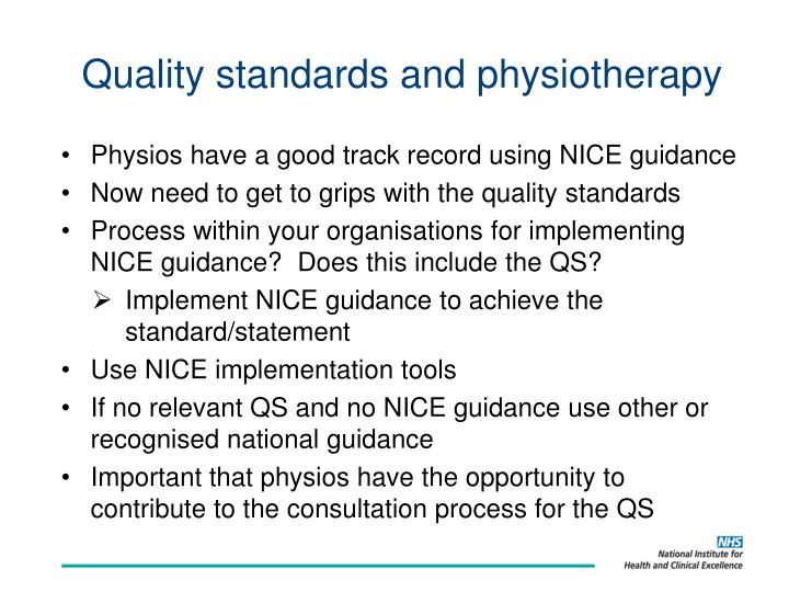 Quality standards and physiotherapy