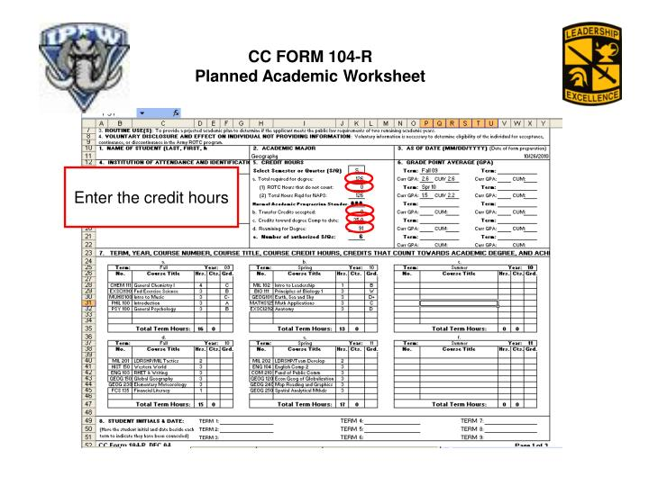 PPT - CC FORM 104-R Planned Academic Worksheet PowerPoint ...