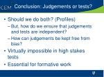 conclusion judgements or tests