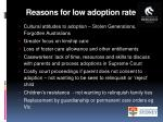 reasons for low adoption rate