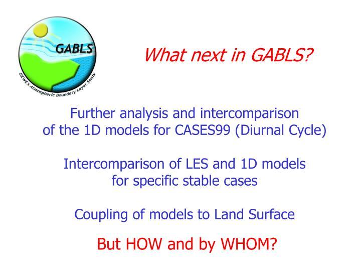 What next in GABLS?