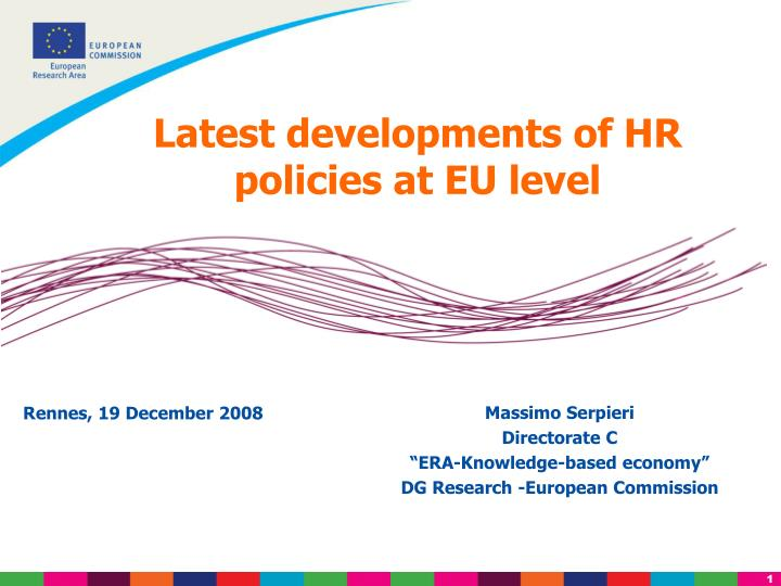 Latest developments of HR policies at EU level