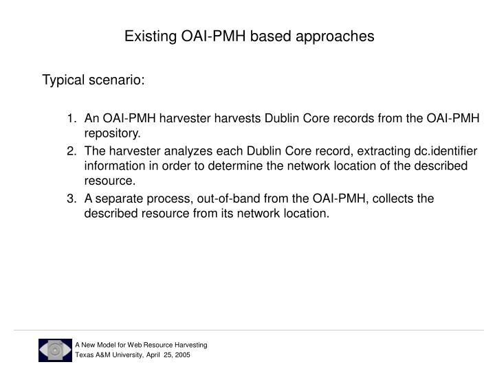 Existing OAI-PMH based approaches