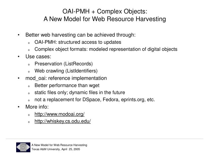 OAI-PMH + Complex Objects: