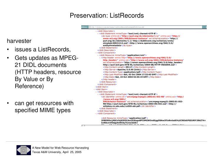 Preservation: ListRecords
