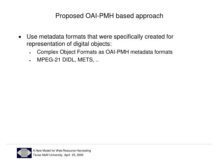 Proposed OAI-PMH based approach