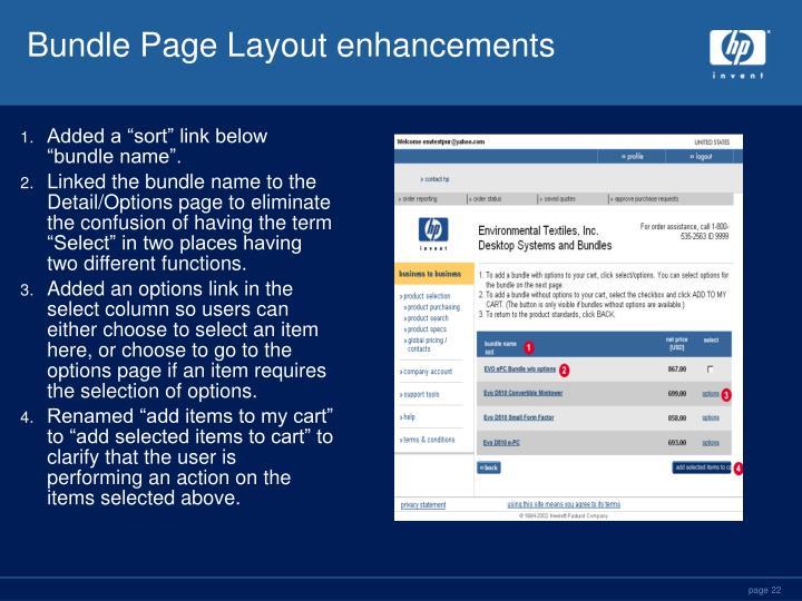 Bundle Page Layout enhancements