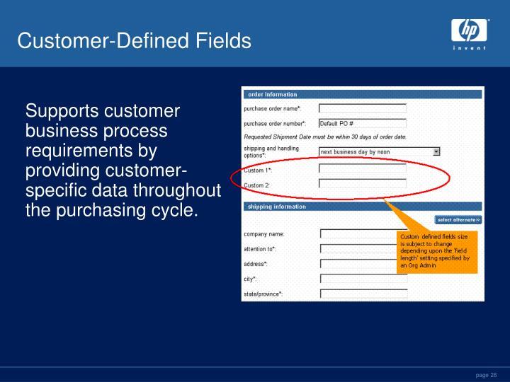 Customer-Defined Fields