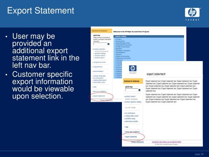 Export Statement