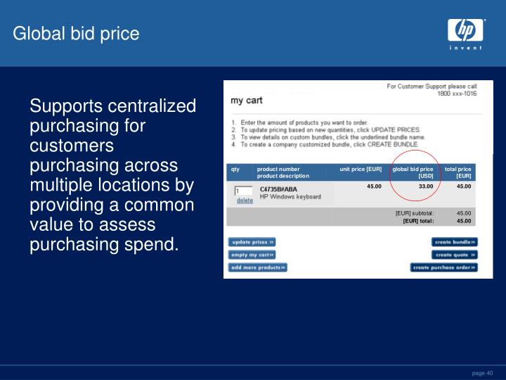 Global bid price