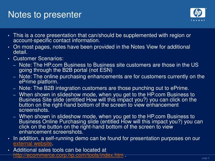 Notes to presenter