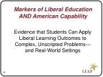 markers of liberal education and american capability