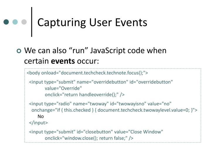 Capturing User Events
