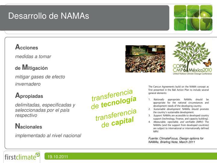 Desarrollo de NAMAs