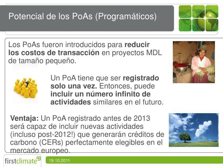 Potencial de los PoAs (Programáticos)