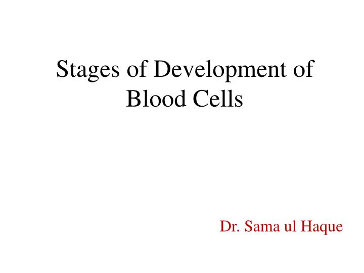stages of development of blood cells n.