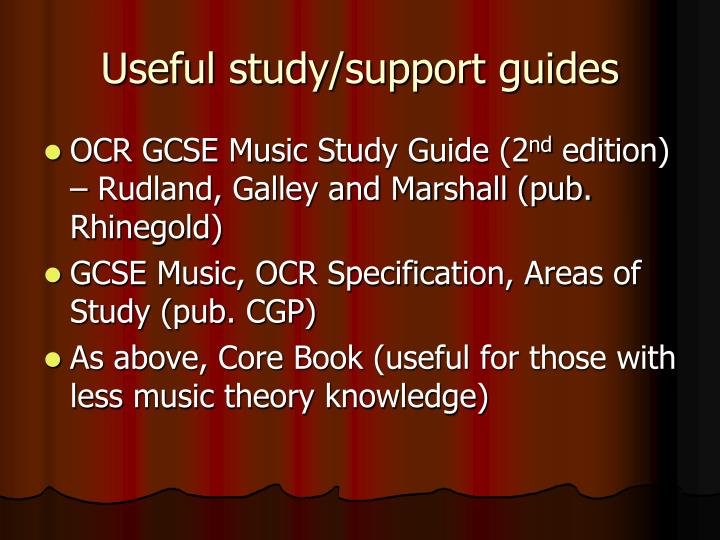 Useful study/support guides