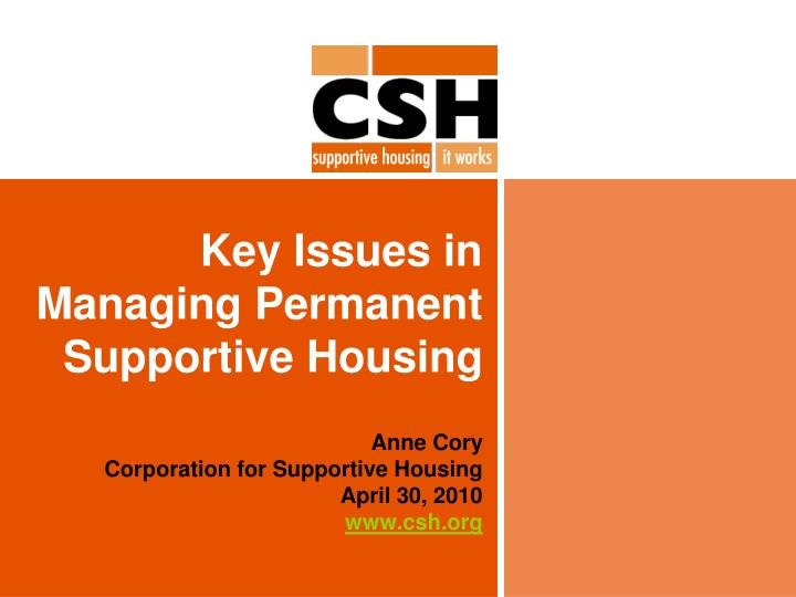 key issues in managing permanent supportive housing n.