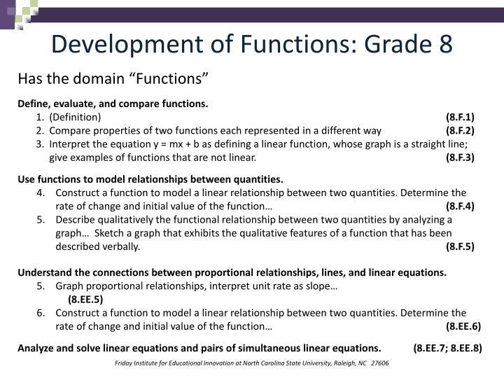 Development of Functions: Grade 8