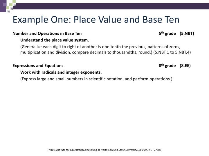 Example One: Place Value and Base Ten