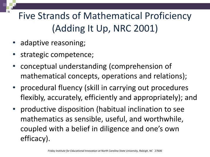 Five Strands of Mathematical Proficiency (Adding It Up, NRC 2001)