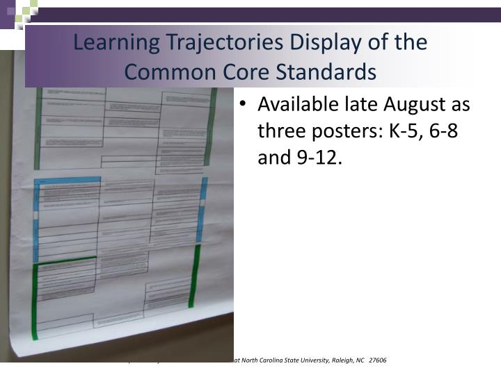 Learning Trajectories Display of the Common Core Standards
