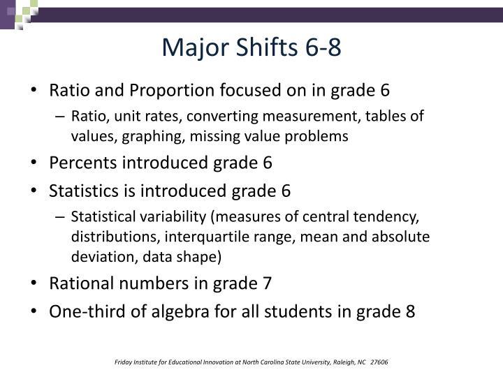 Major Shifts 6-8