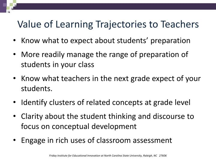 Value of Learning Trajectories to Teachers
