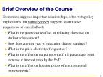 brief overview of the course