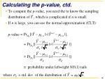 calculating the p value ctd
