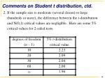 comments on student t distribution ctd