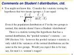 comments on student t distribution ctd2