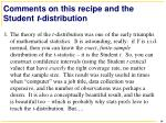 comments on this recipe and the student t distribution