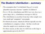the student t distribution summary