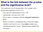 what is the link between the p value and the significance level
