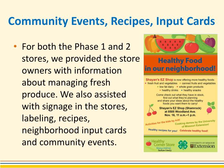 Community Events, Recipes, Input Cards