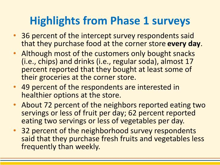 Highlights from Phase 1 surveys