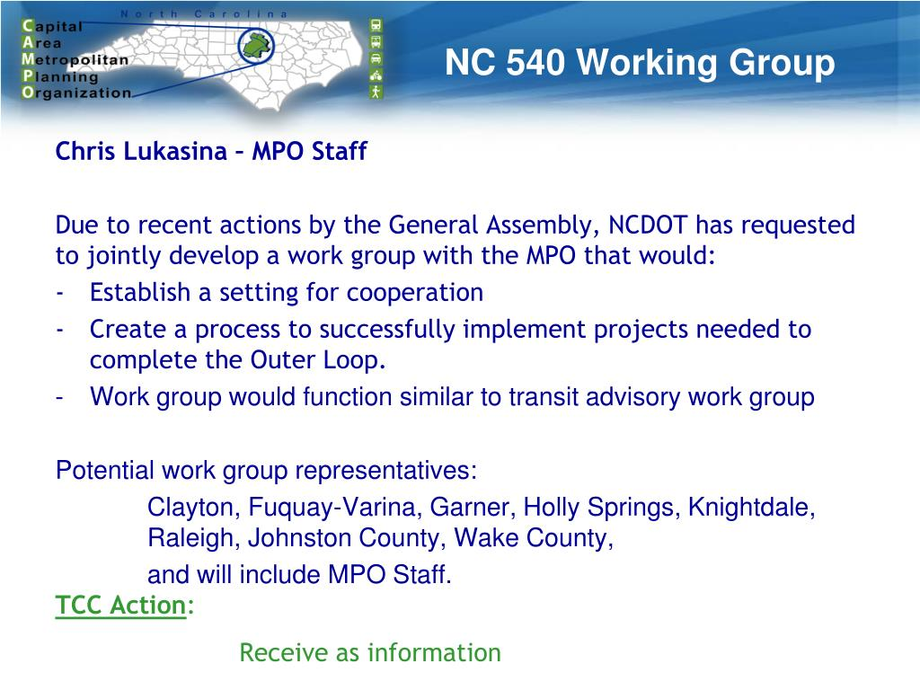 PPT - NC CAPITAL AREA MPO Technical Coordinating Committee