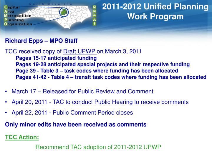 2011-2012 Unified Planning Work Program