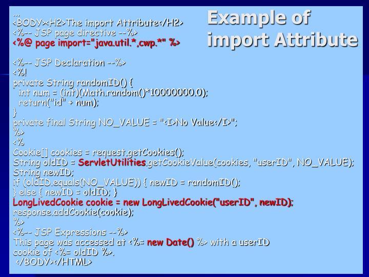 Example of import Attribute
