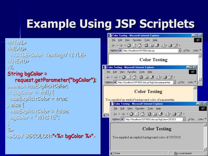 Example Using JSP Scriptlets