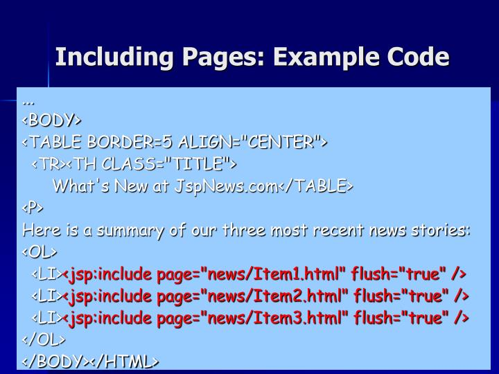 Including Pages: Example Code
