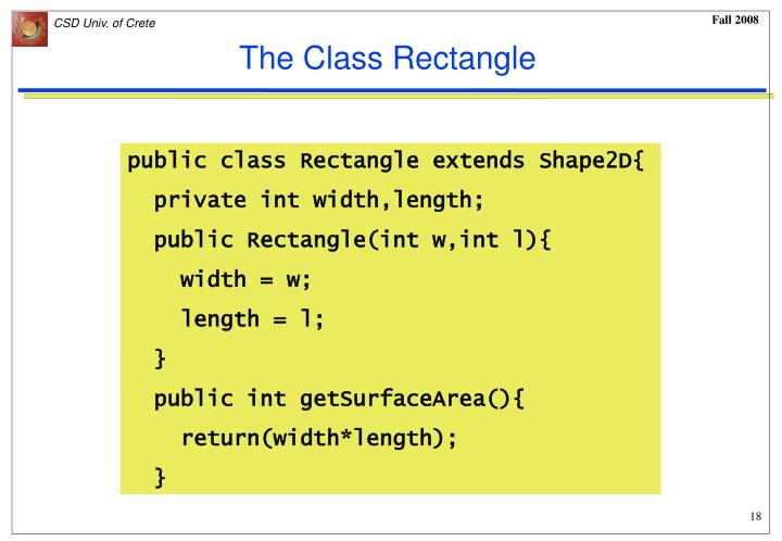 The Class Rectangle