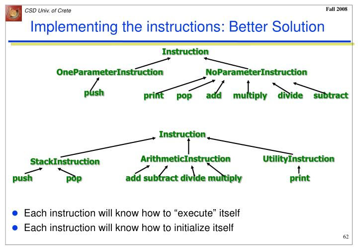 Implementing the instructions: Better Solution