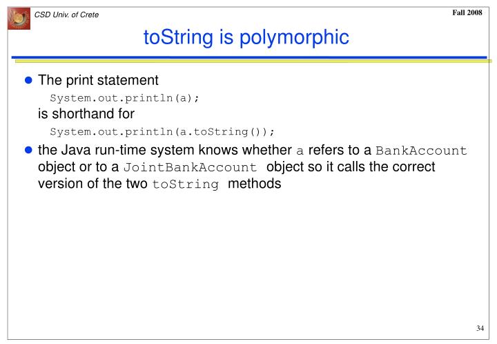 toString is polymorphic