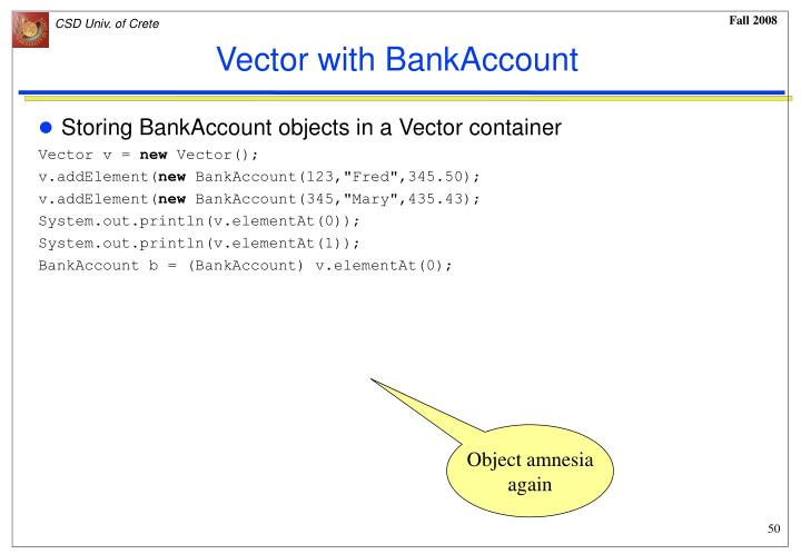 Vector with BankAccount