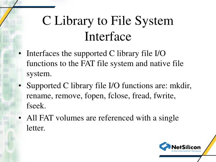 C library to file system interface