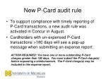 new p card audit rule